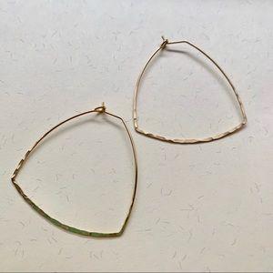 Jewelry - Gold hammered geometric hoop earrings